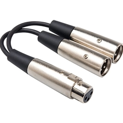 5486 Hosa YXM-121 6 Inch Y Cable 1-XLR3 Female x 2-XLR3 Male