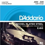 DA5012 D'Addario EJ60 Light Loop End Banjo Strings, .009-.020