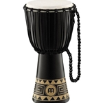 4036 Meinl HDJ1-M African Style Djembe Drum, Med Dark Brown/Carving