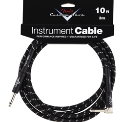 "0990820036 Fender FG10BSL 10' 1/4"" Straight x 1/4 Right Angle Black Tweed Cable"