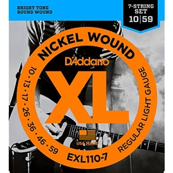 3148 D'addario EXL110-7 Regular Light 7 String Set, .010 - .059