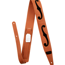 9224362100 Gretsch® F-Holes Leather Strap, Orange and Black, 3""